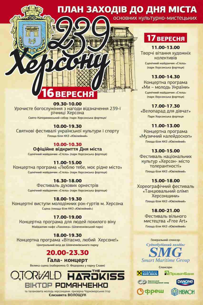 У День міста херсонців вітатимуть українські знаменитості